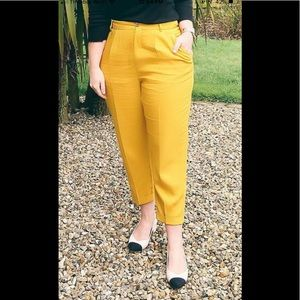 Zara Mustard Trousers With Elastic Waistband🌼